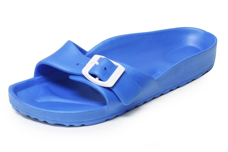 H2K Light Sandal for Women, Lily' Women's [Super Lightweight] Casual Comfortable Slip-On Slide Sandal Contoured Footbed Flat Slipper Shoes with Adjustable Buckle Strap - Blue Size 8 M [US Size]