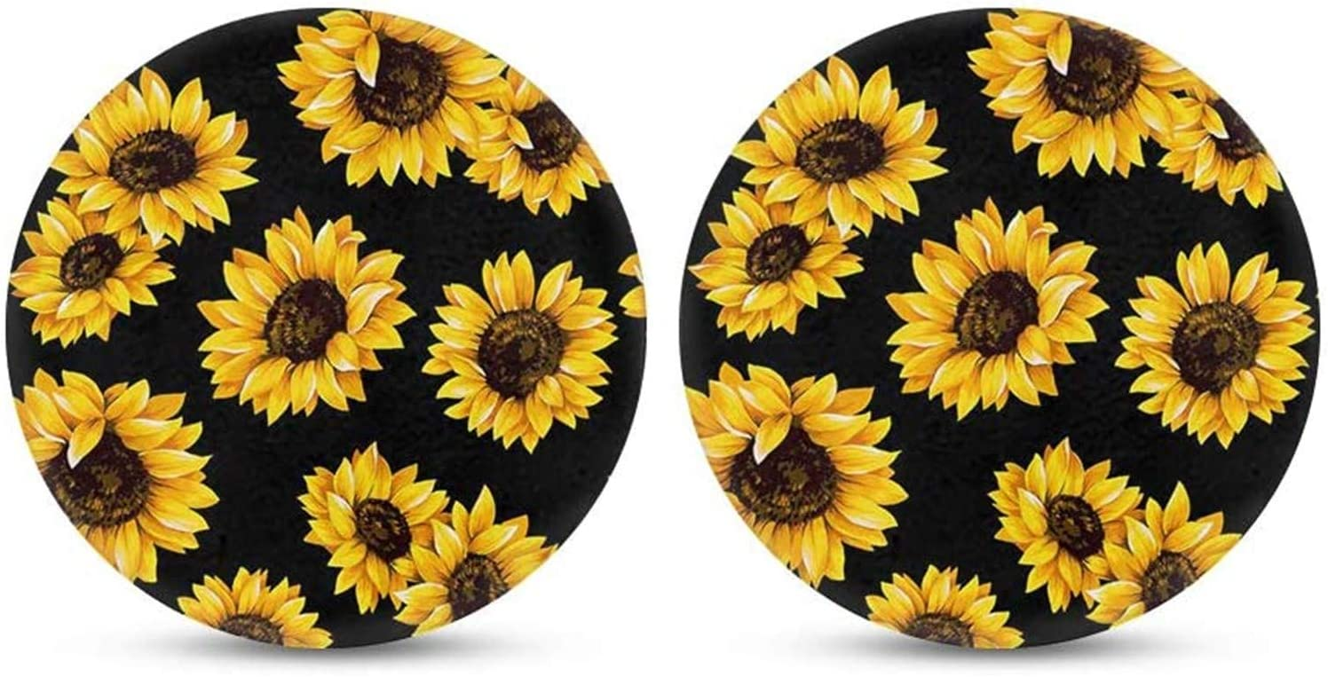 FKELYI Sunflowers Pattern Auto Universal Cup Coaster Black Car Interior Decor Accessories Water Absorbent Cup Holder Coaster Fit Sedan/SUV//Truck
