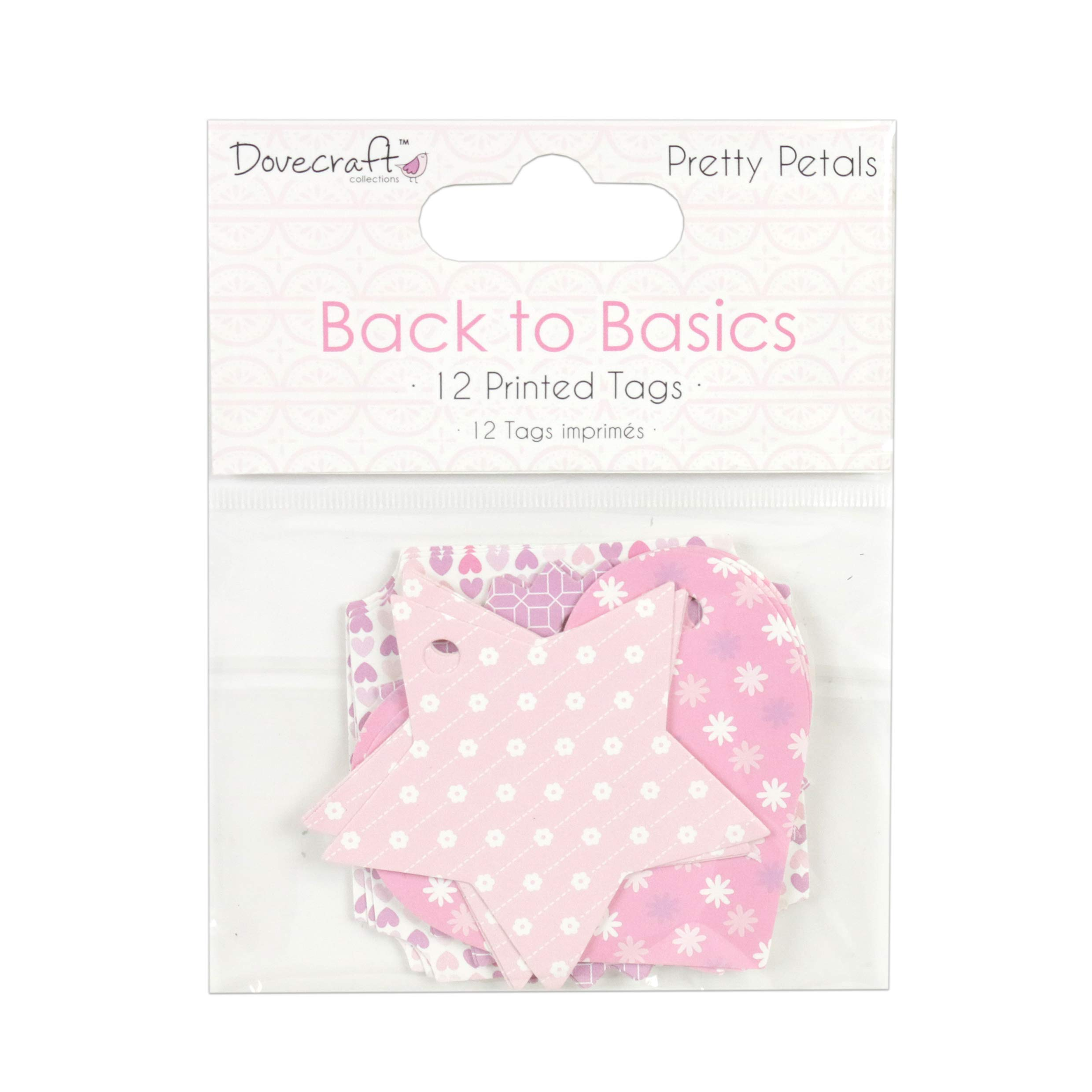 Dovecraft Back to Basics Pretty Petals Printed Tags, Multicolour, 1