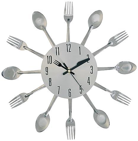 yeah67886 cocina Metal Creative Reloj de pared Cubiertos caso (plata)
