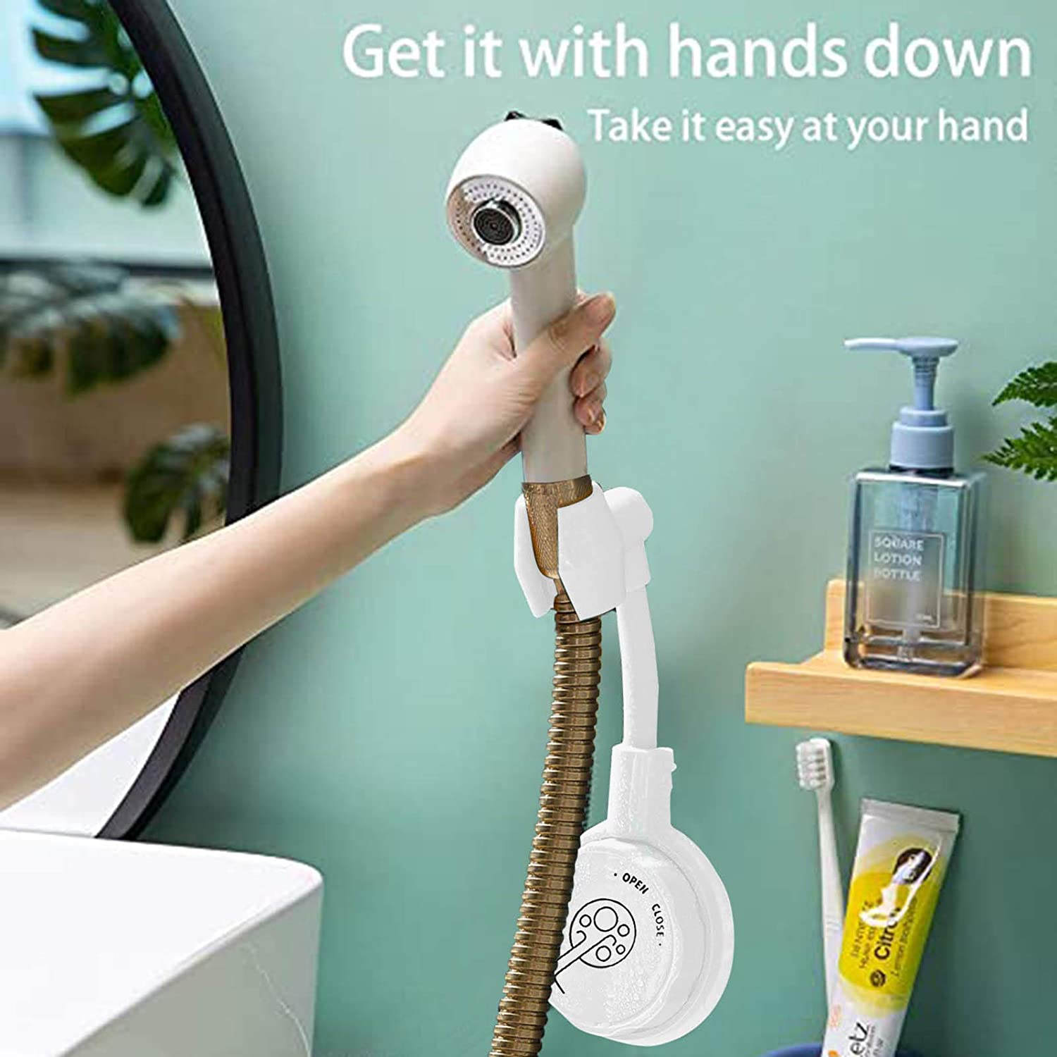 1PC, Black 2020 Newst Shower Head Holder No-Punching Vacuum Suction Shower Head Rack Easy to Install Suitable for Bathroom Kitchen Strong Adhesive 360/° Adjustable Rotatable Shower Head Bracket