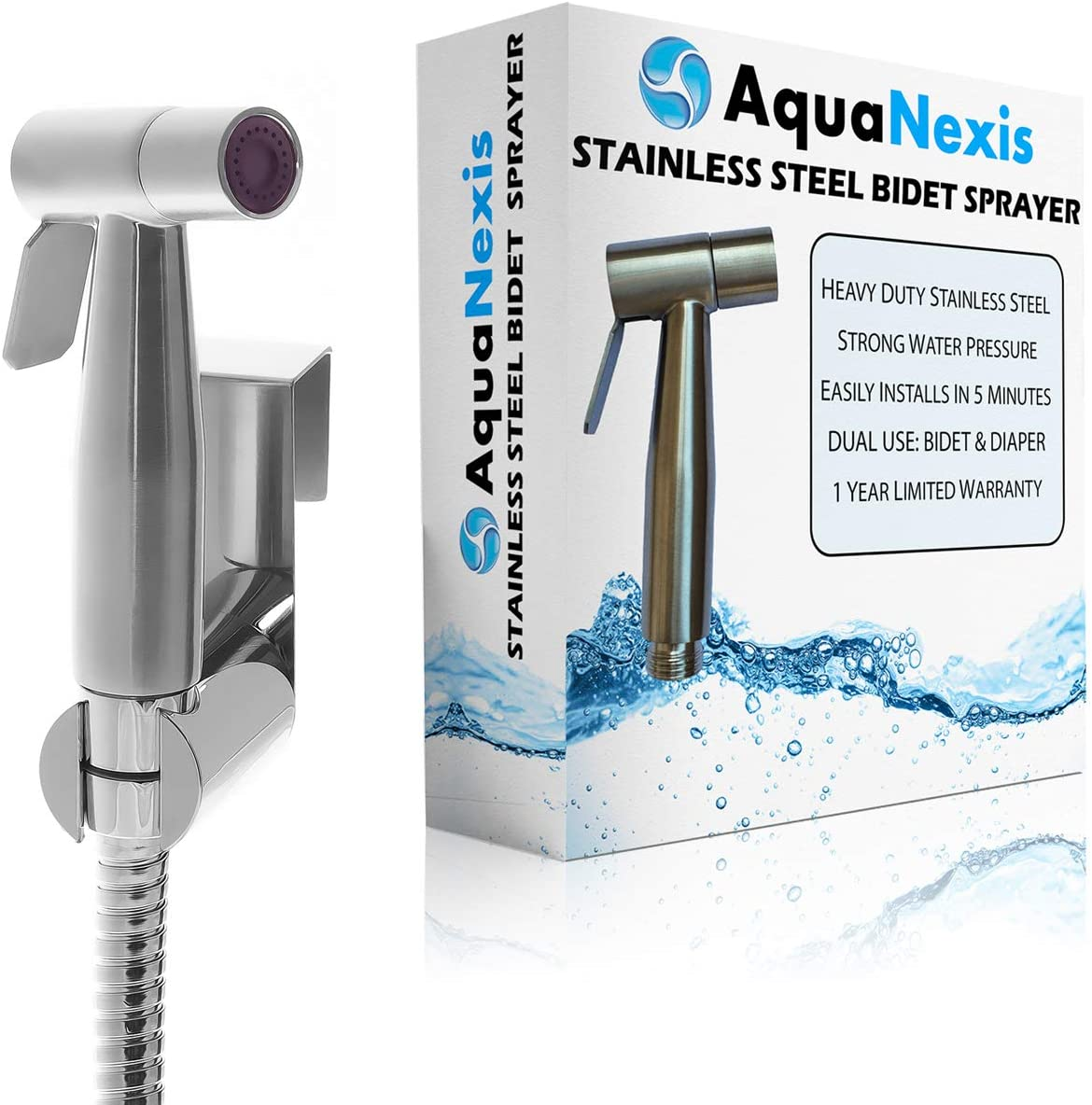 Aqua Nexis Premium Bidet Sprayer For Toilet Stainless Steel Bathroom Handheld Spray Best Used For Personal Hygiene And Potty Toilet Hygiene Perfect Bottom Cleaner Spray And Shower Attachment