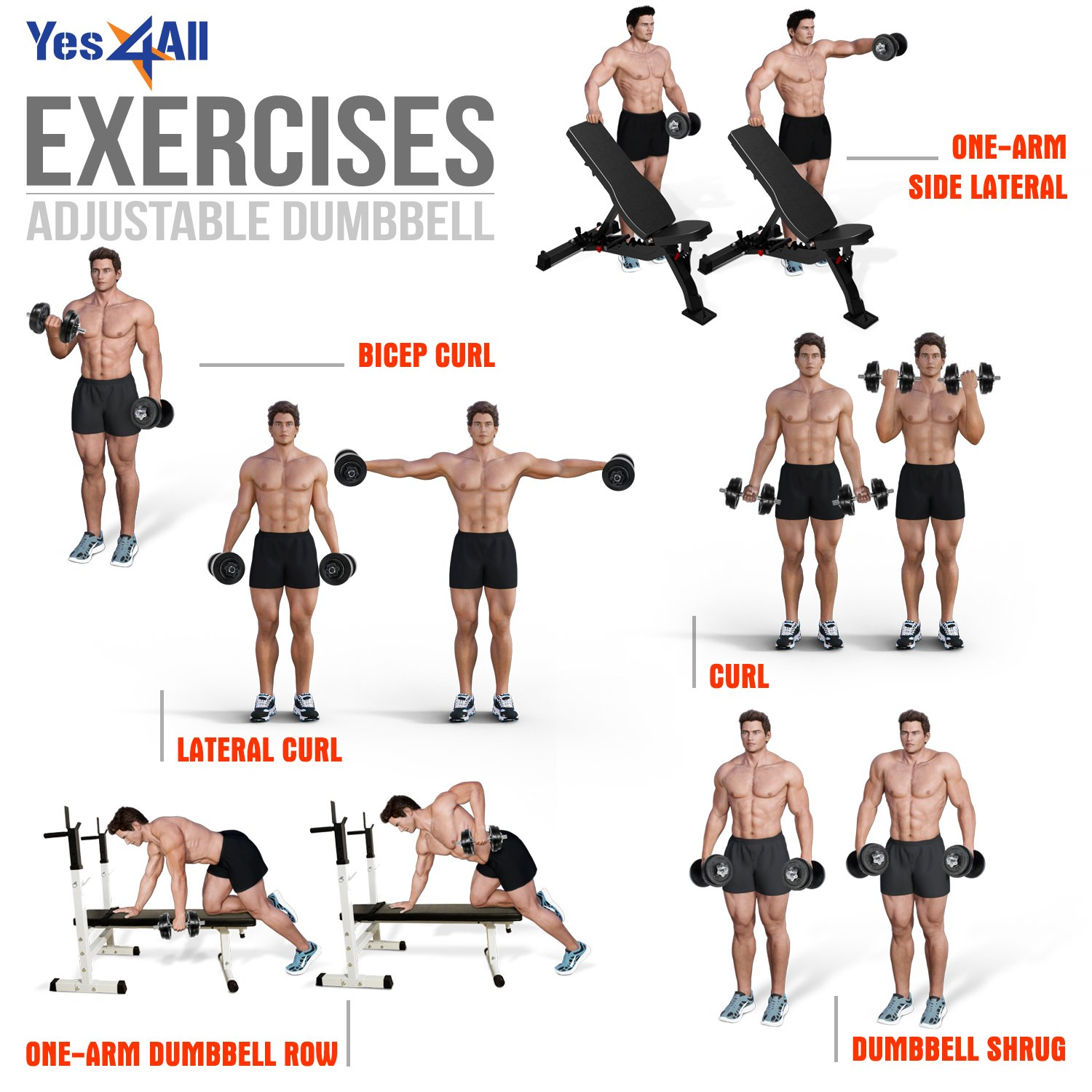 Yes4All Adjustable Dumbbells - 52.5 lb Dumbbell Weights (Single) by Yes4All (Image #8)