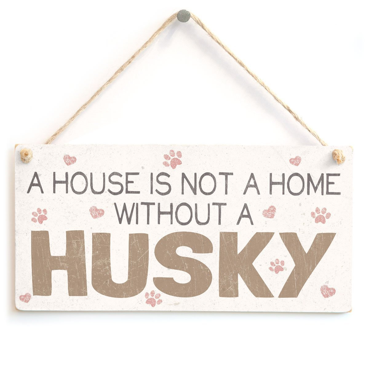 Meijiafei A House is Not A Home Without A Husky Cute PVC Dog Sign//Plaque 10x5