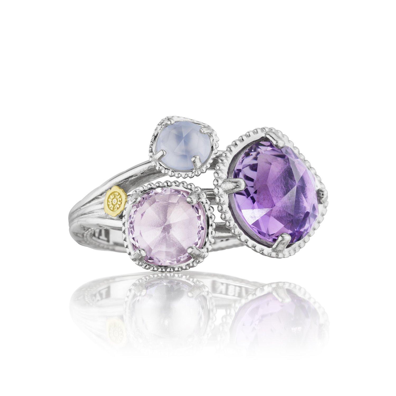 Tacori SR137130126 Lilac Blossoms Sterling Silver Multi Stone Ring, Size 7
