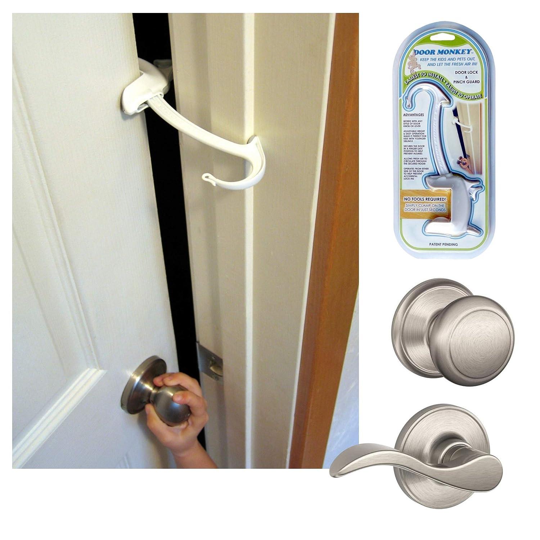 Amazon Com Door Monkey Door Lock Pinch Guard Safety Door Lock For Kids Baby Proof Door Lock For Bedrooms Bathrooms Kitchens Easy Convenient Simple To Install