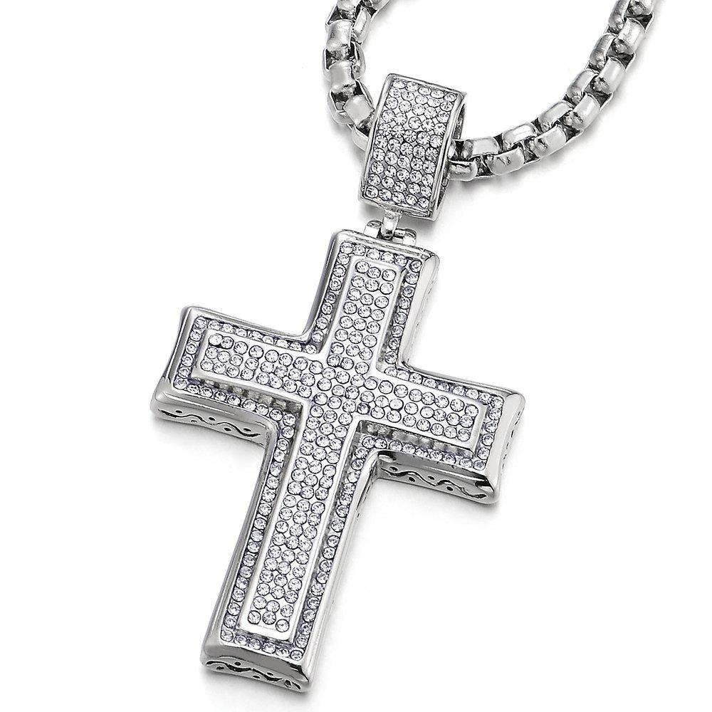 COOLSTEELANDBEYOND Zwei-Schichten Kreuz Anhä nger mit Zirkonia, Herren Damen Edelstahl Halskette 75cm Stahl Kugelkette MP-825-EU
