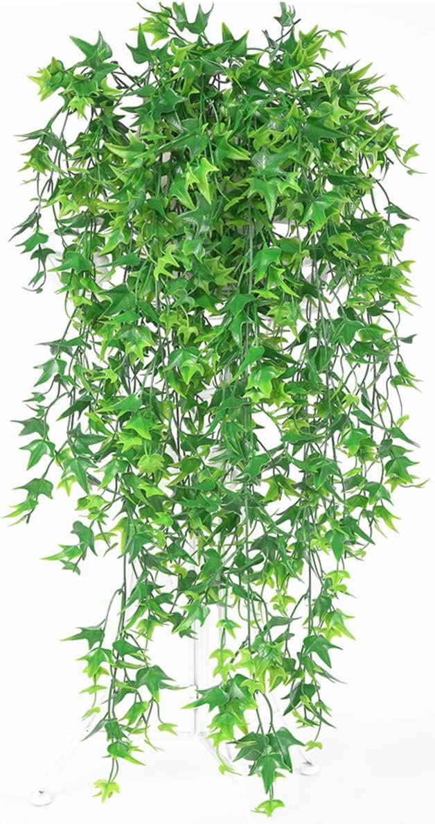 Artificial Vine, PASYOU Hanging Ivy Sweet Potato Leaves Plastic Plants Foliage Vines, UV Resistant Greenery Fake Flowers for Indoor Outdoor Garden Door Wall Wedding Party Table Decoration Green 2 Pack