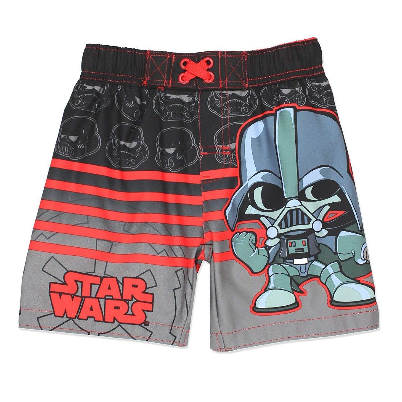 Disney Star Wars Boys Swim Trunks Swimwear (3T, Black)
