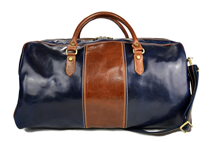 ad5c9055797a Amazon.com: Leather duffle bag genuine leather shoulder bag blue ...