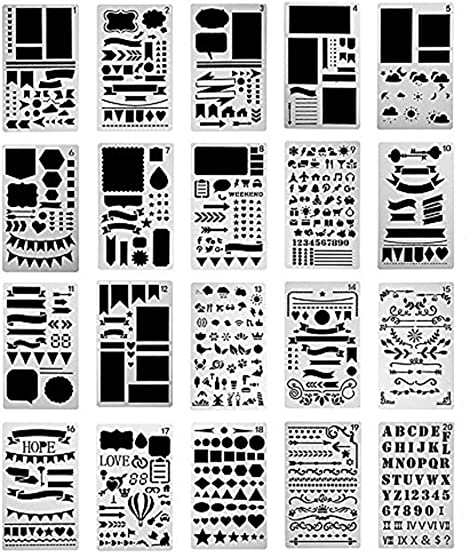 4 x 7 Inch 20 Pcs Bullet Journal Stencils Plastic Planner Set,Over 1000 Letters DIY Alphabet Letter Painting Drawing Template for Notebook Diary Scrapbook Craft Projects Schedule Book