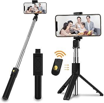 SOOTEWAY Palo Selfie Tripode Bluetooth con Control Remoto, 3 en 1 ...