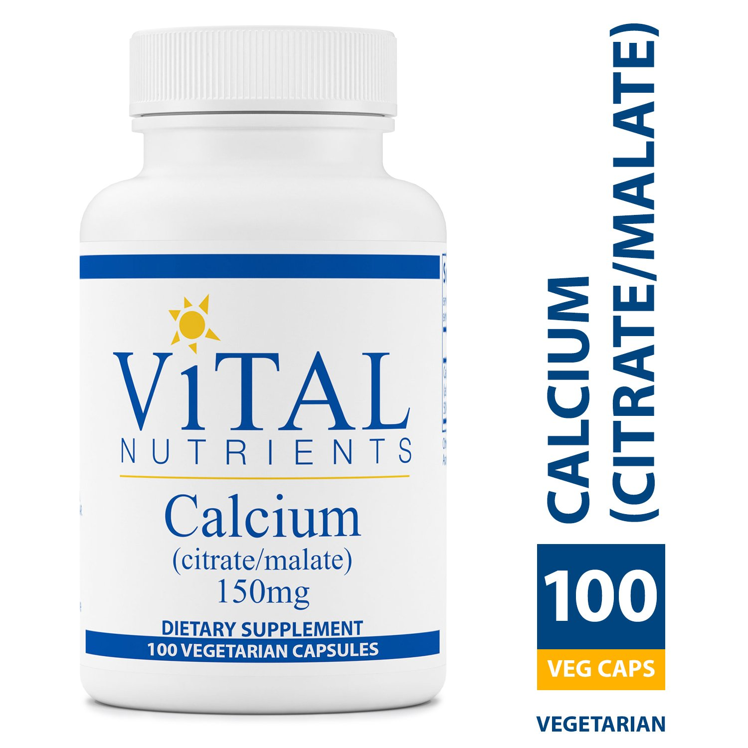 Vital Nutrients - Calcium (Citrate/Malate) 150 mg - Most Bioavailable Form of Calcium - 100 Vegetarian Capsules per Bottle