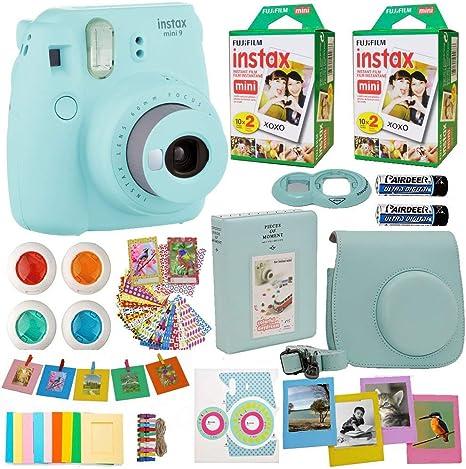 Fujifilm Instax Mini 8 Cámara instantánea hielo azul + 2 x Fuji Instax película Twin Pack (