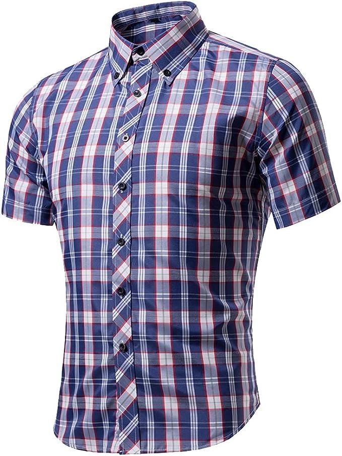 Dihope Homme Été Chemise à Carreaux Manches Courtes Col Roulé Slim Tee Shirt Casual Haut Top de Loisir Mode Chemisette