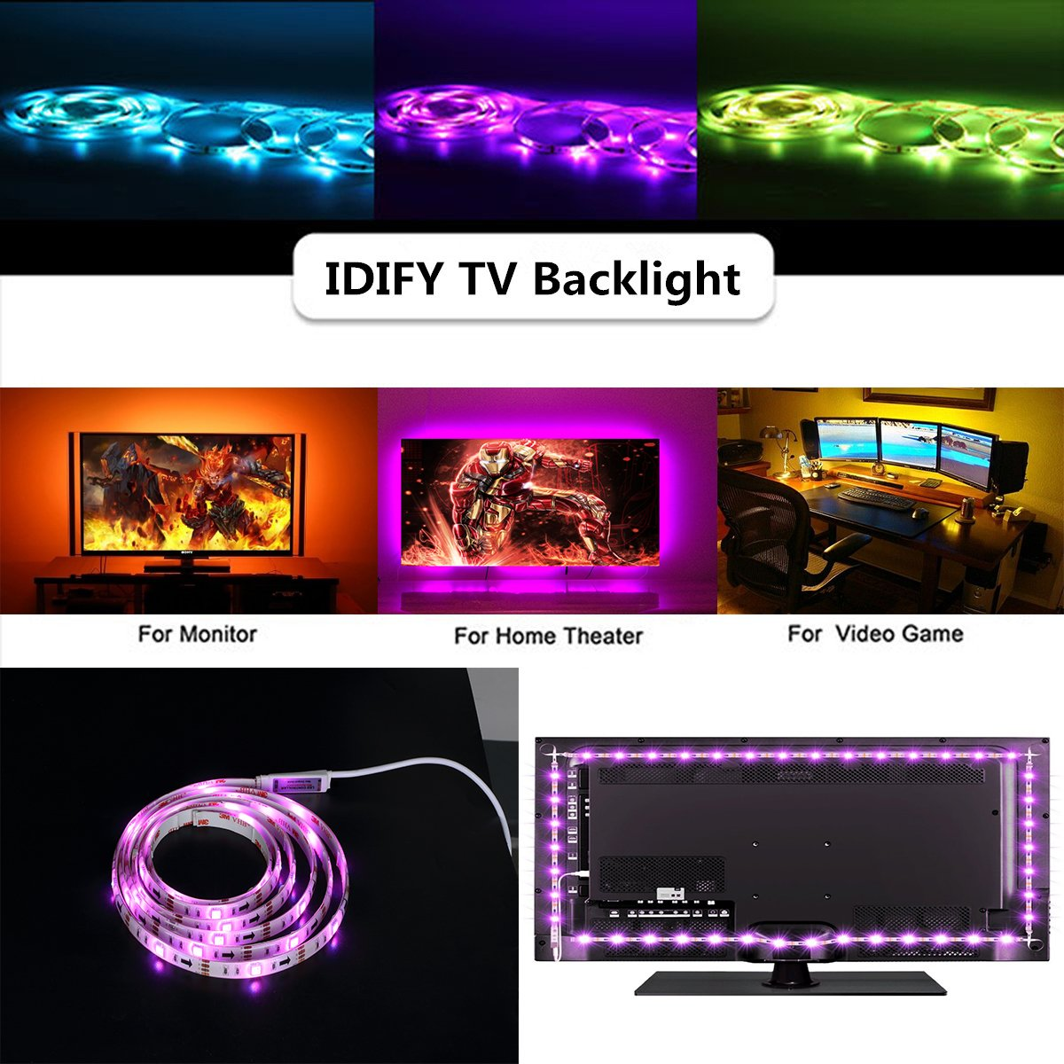 LED Strip Lights for 55 60 inches Back of TV Decor USB Operate 11.28ft Waterproof RGB Backlighting with 20 Colors Changing Remote (White 55'' 60'') by IDIFY (Image #3)