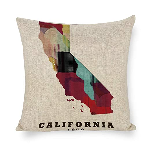 TINA-R California Estado Mapa Funda de Almohada Funda de ...