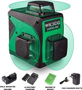 Wokeline 3x360° Rotary Laser Level Self Leveling Green Beam Three Plane Cross Line Lasers 2x360° Vertical 1x360° Horizontal 12 Lines Tile Ceiling Floor Lazer Levels+Flexible Magnetic Base+Li Battery