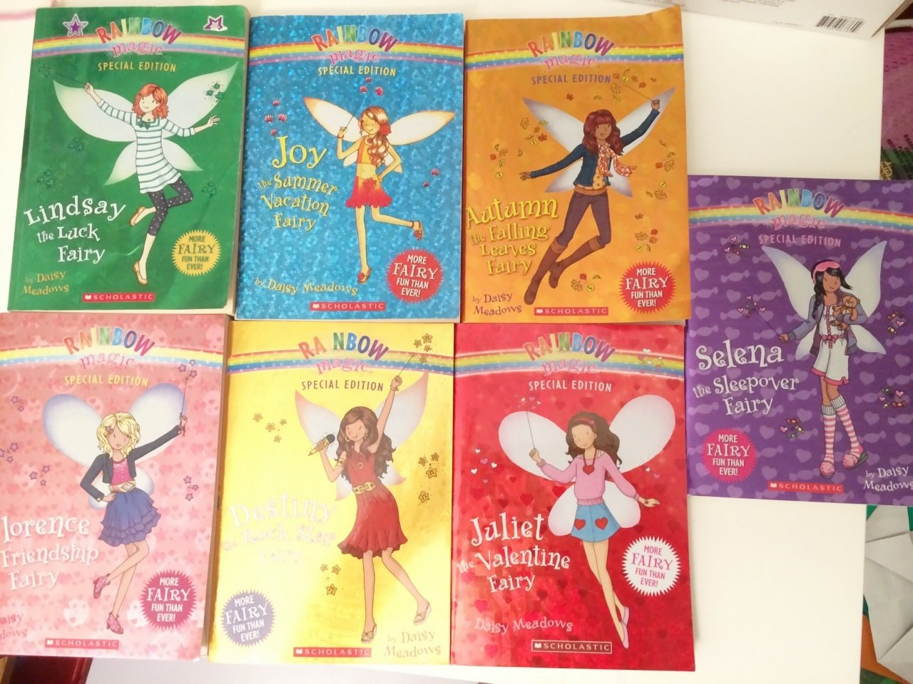 Download Rainbow Magic Special Edition 7 Book Set - Joy the Summer Vacation Fairy, Selena the Sleepover, Lindsay the Luck, Juliet the Valentine, Destiny the Rock Star, Florence the Friendship, Autumn the Falling Leaves Fairy PDF