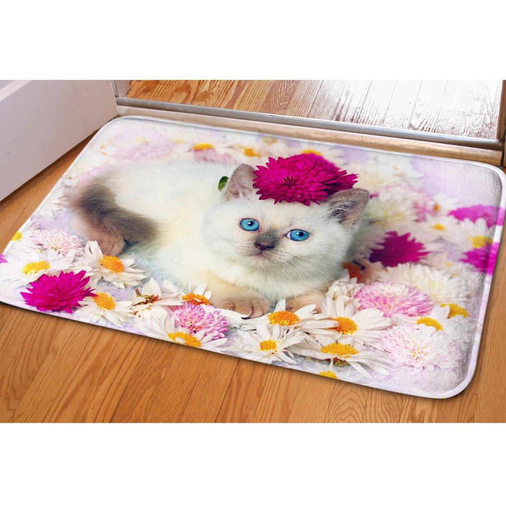 Youngerbaby Cute Cat Doormat Indoor 24x16 Inch No-slip Soft Flannel Bathmats for Children Bedroom Rug Kitchen Fresh Zoo Animal Door Mat for Girl Women