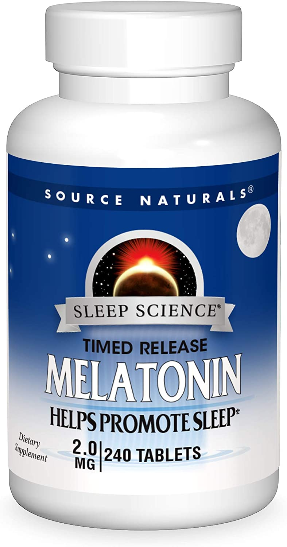 Source Naturals Sleep Science Melatonin 2 mg Helps Promote Sleep - 240 Time Release Tablets