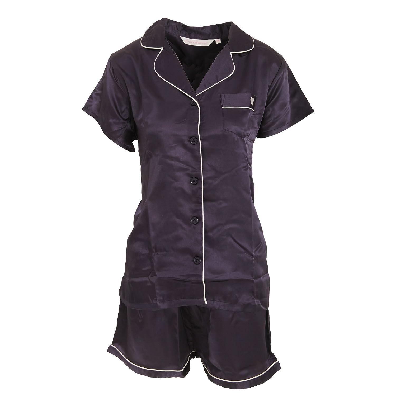 Forever Dreaming - Conjunto de pijama de pantalón corto y manga corta de satiné para mujer