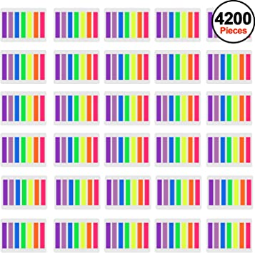 SIQUK 4200 Pieces Flag Tabs Colored Page Markers Sticky Index Tabs Neon Note 30