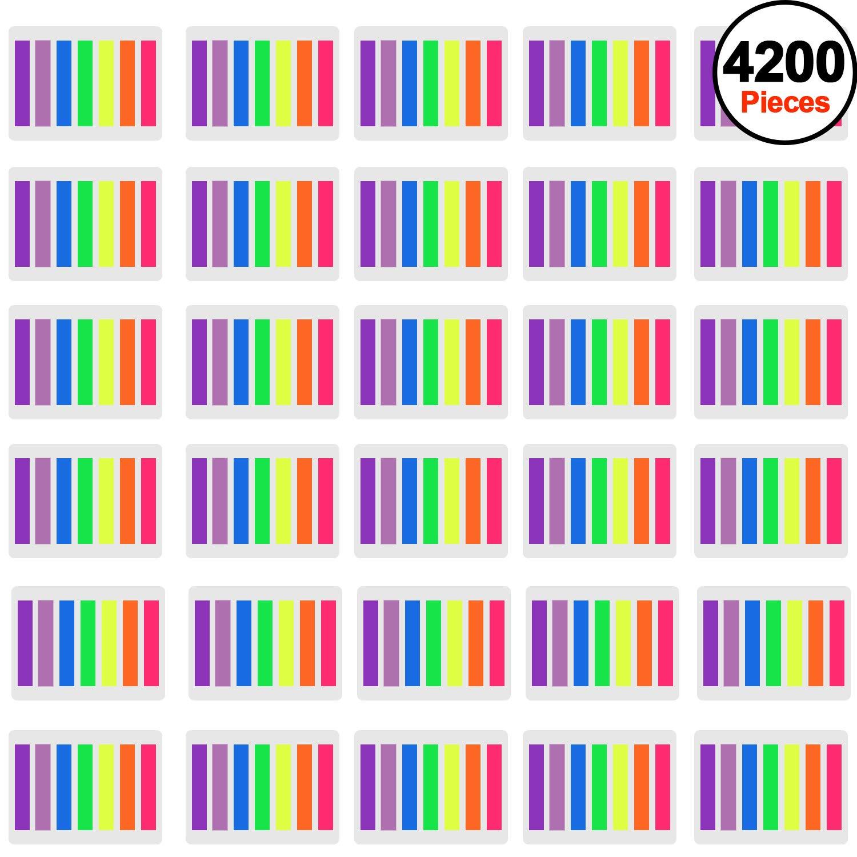 SIQUK 4200 pezzi Segnapagina Tabulatori di pagina colorati Tabulatori di indice appiccicoso Tabnote di etichette al neon Page Flags, 30 Sets 7 Colors