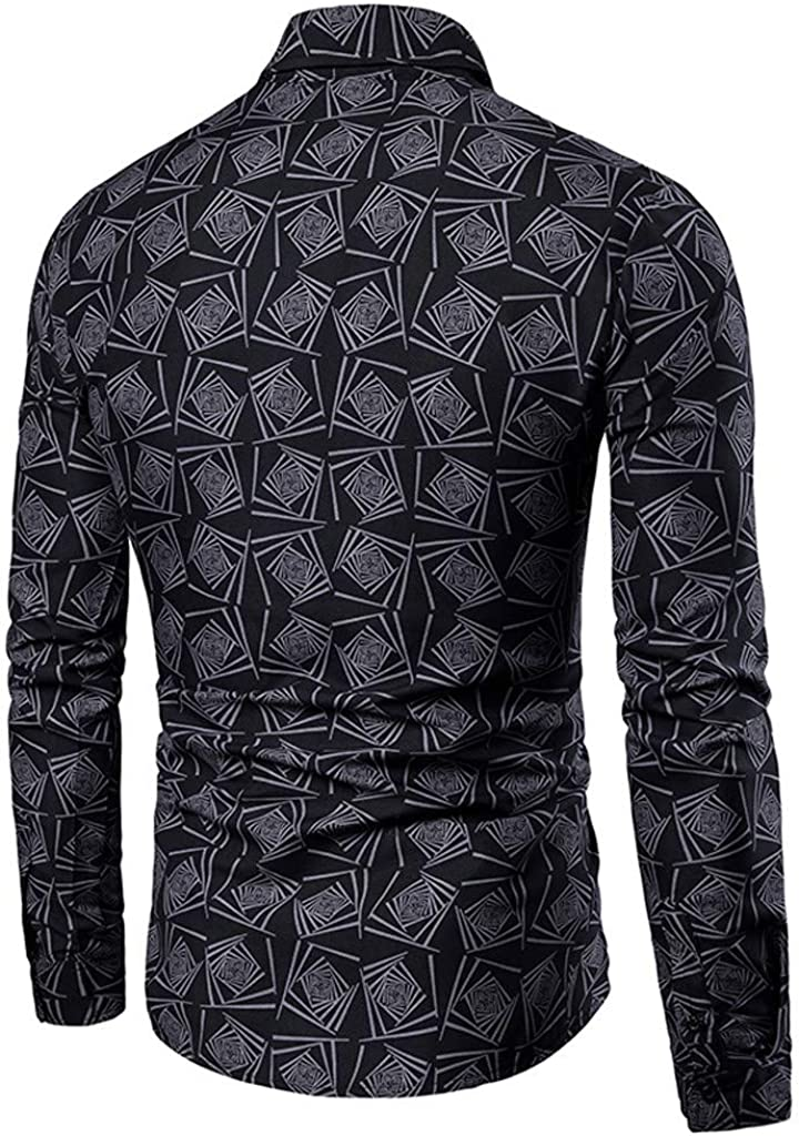 Aubbly Mens Stylish Floral Long Sleeve Shirt Casual Shirt Fit Button-Collar Slim-Fit Tops Loose Shirts Blouses