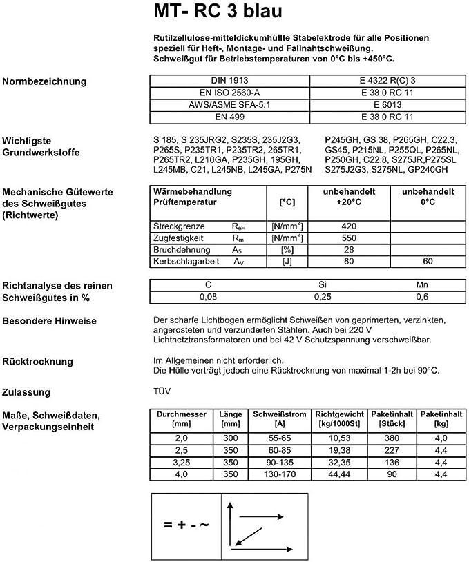 ca MTC 2044025 Professionelle Universal Stabelektrode MT /ø 2.5 x 350 mm RC3 blau 1,0 kg