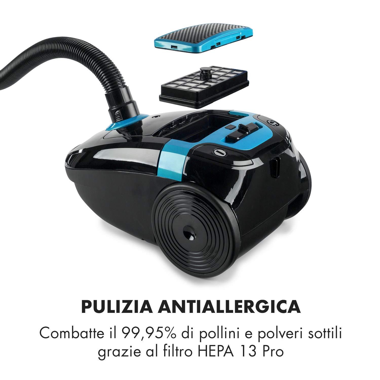 HEPA 13 Indicatore Livello KLARSTEIN Mister Eco Aspirapolvere Nero-Blu 450 W Aspirapolvere con Tubo Telescopico Volume 2 L Ugelli inclusi