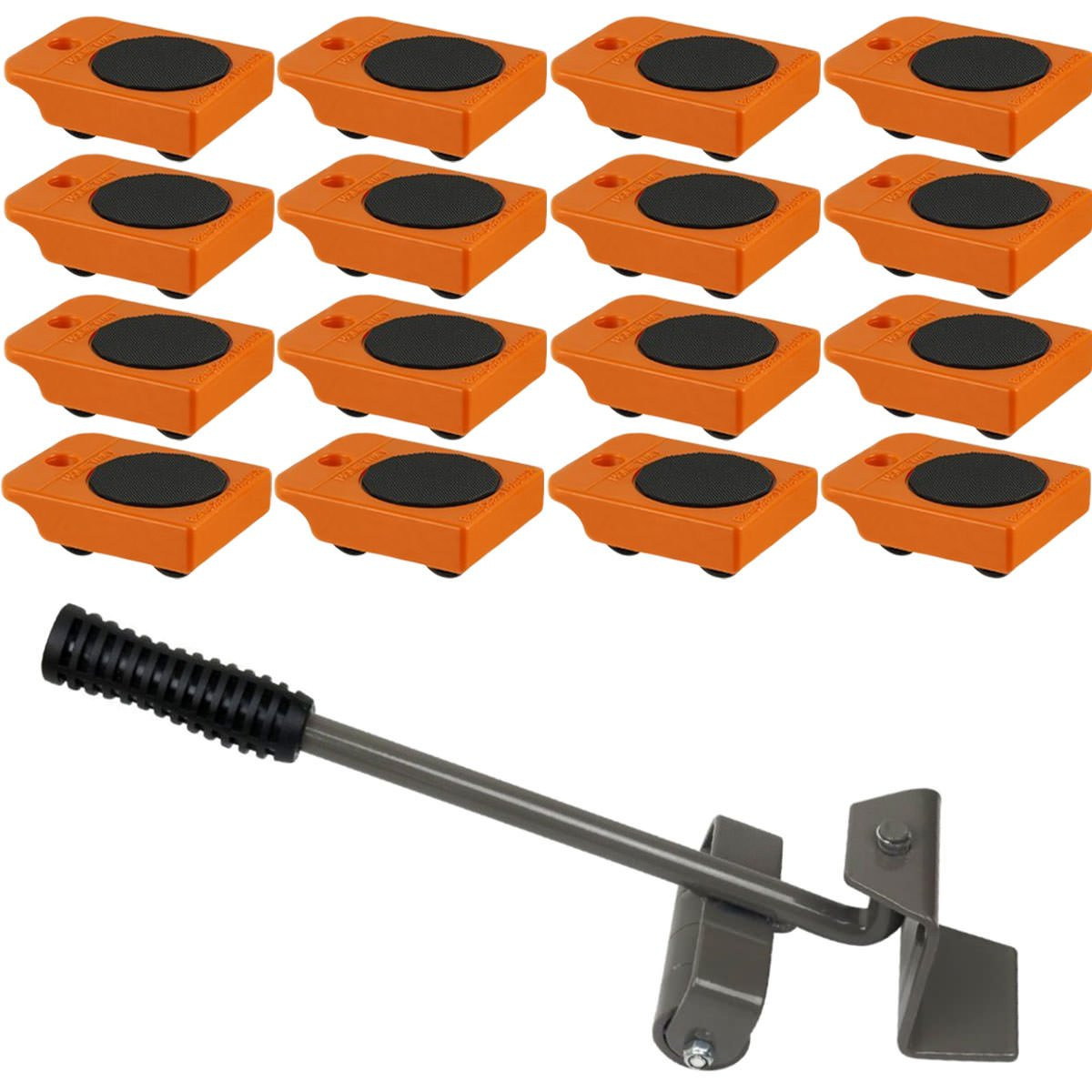Furniture Lifter with 16pc Mover Rollers, Move Heavy Furniture Easily  - Furniture & Appliances Roll with Ease 4'' x 3''