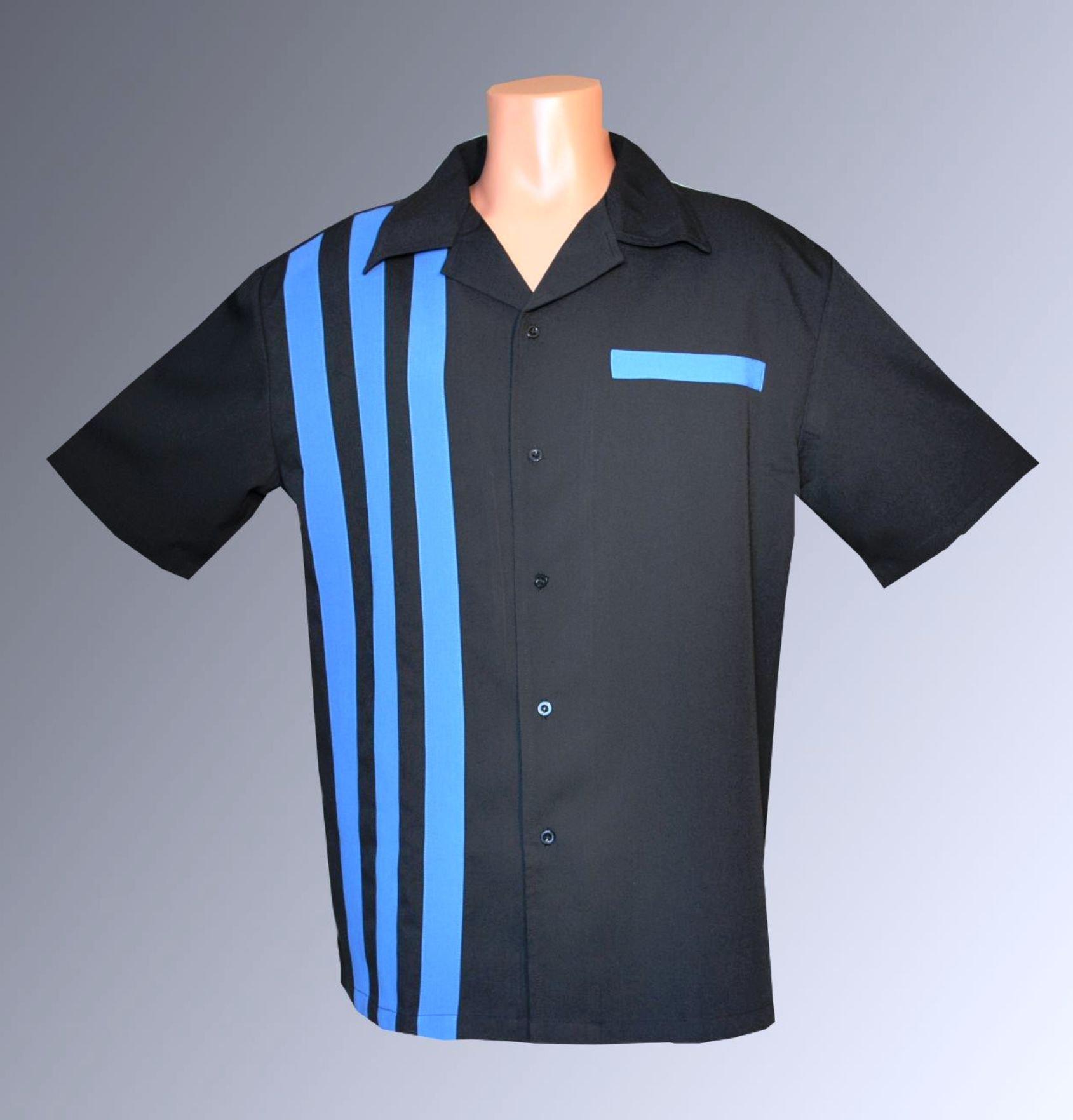 Attila Bowling Shirt Big and Tall Retro 50s Charlie Sheen BluRef Pocket (Medium) by Designs by Attila