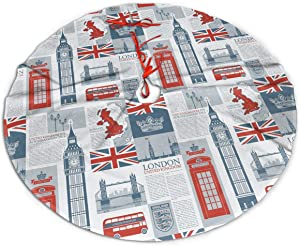 MSGUIDE Christmas Tree Skirt 48 Inch UK and London Xmas Holiday Party Supplies Large Tree Mat Decor for Indoor Outdoor Home Ornaments