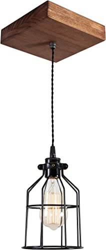 West Ninth Vintage Single Wood Pendant Light – Farmhouse Accent Light – Early American Stain – Black cage