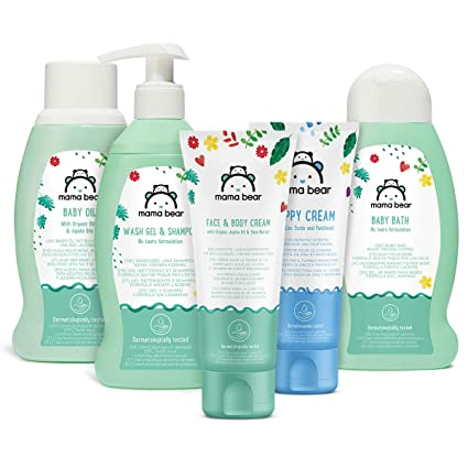cb60edf824bd Marchio Amazon- Mama Bear Set per la cura del bebè: Bagnetto, shampoo,