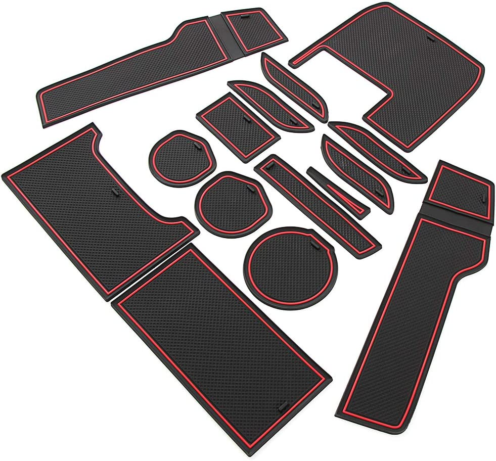 17Pcs SureMart Cup Holder Liner Custom Fit for Honda Civic 2016 2017 2018 Door Slot Pad Center Console Mats Interior Accessories Anti-Dust Anti-Slip