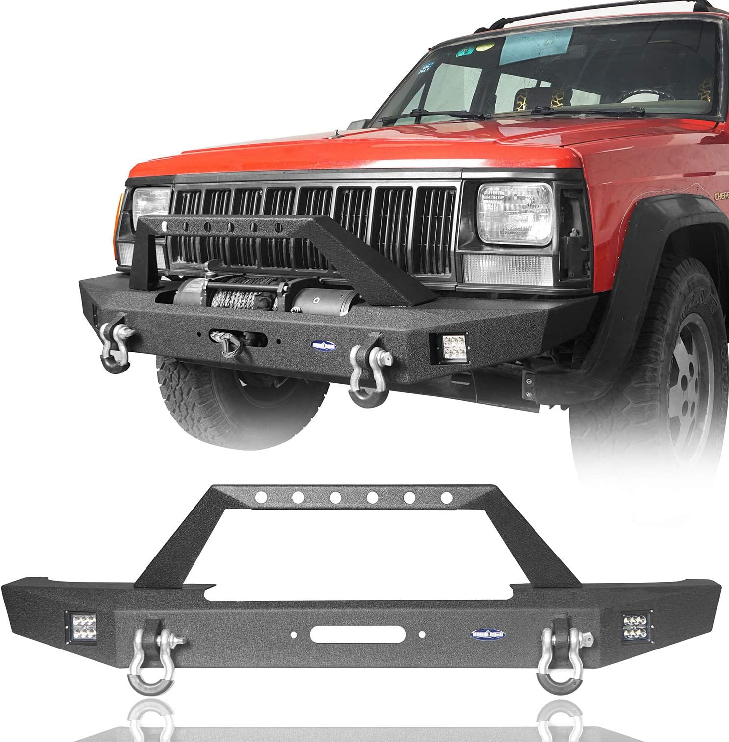 Hooke Road Cherokee XJ Rear Bumper with 2/×18W LED Lights /& Receiver Hitch Compatible with Jeep Cherokee XJ 1984-2001