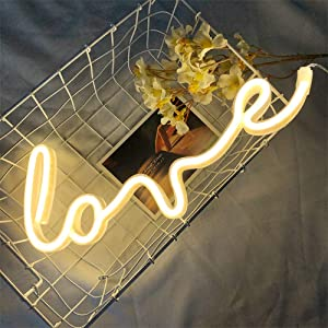 Protecu Love Neon Sign, 3 AA Battery/USB Powered Neon Lights LED Signs for Bedroom Neon Signs for Wall Decor, Neon Signs for Birthday, Party, Kids, Girls Room, Christmas, New Year Decor (Warm White 1)