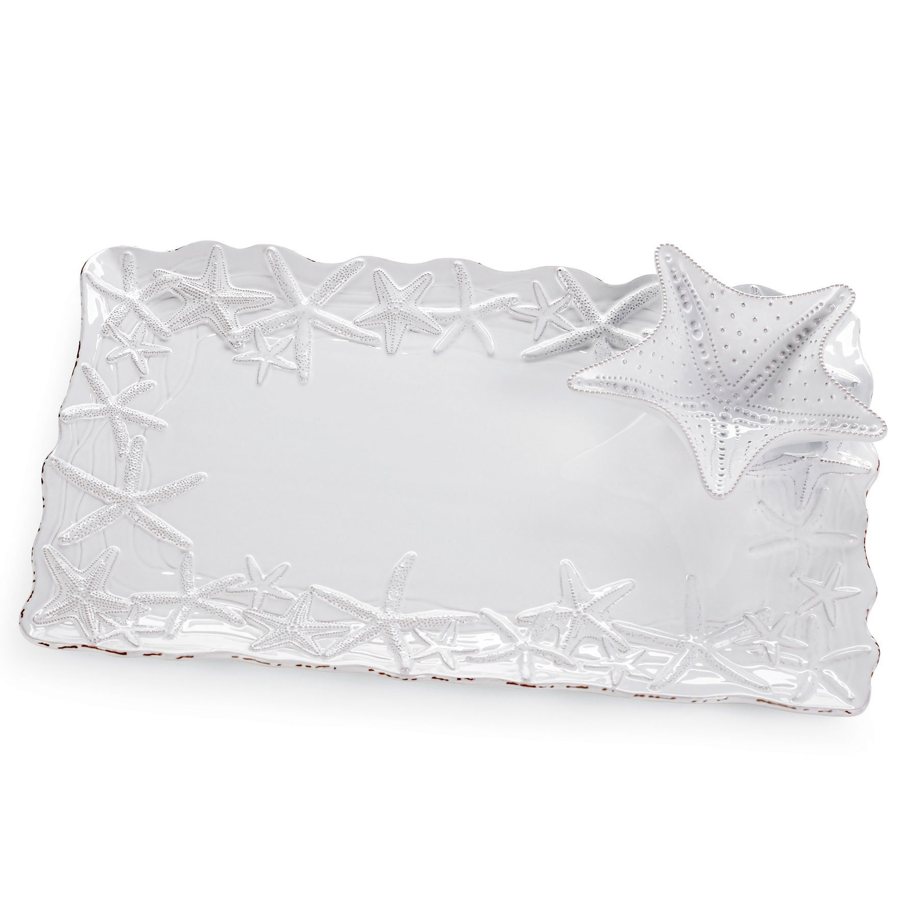 Mud Pie 10218 Chip and Dip Starfish Platter, White
