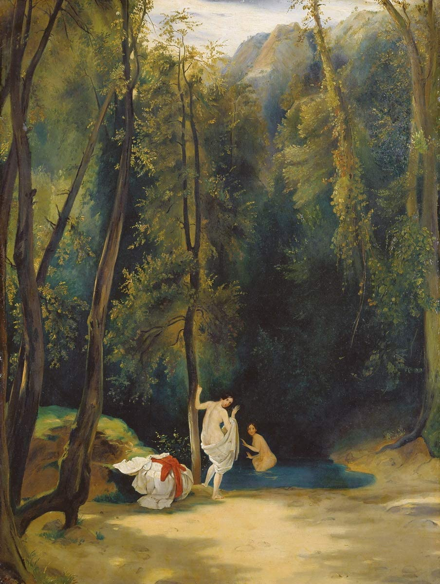 Carl Blechen Giclee Print On Canvas-Famous Paintings Fine Art Poster-Reproduction Wall Decor(Woman Bathing in The Park of Terni) Large Size 39 x 51.7inches