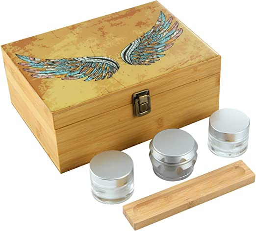 Lockable Includes Grinder Pike /& Pine Handmade Large Stash Box Combo 2 Stash Jars 100/% Bamboo w//Natural Finish Storage for Herbs and Accessories and Removable Dividers Discrete Design