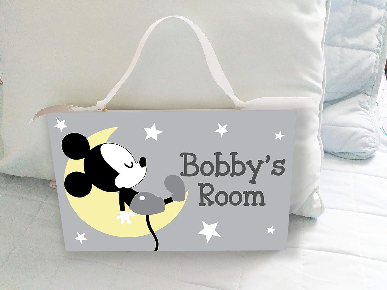 Mickey Mouse Personalised Handmade Childrens Wooden Door Plaque Door Sign