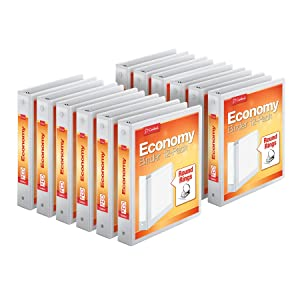 """Cardinal Economy 3-Ring Binders, 1.5"""", Round Rings, Holds 350 Sheets, ClearVue Presentation View, Non-Stick, White, Carton of 12 (90631)"""