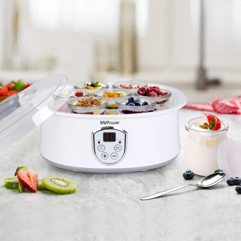 MVPower Yaourti/ère /Électrique Avec /Écran LCD,Thermostat R/églable et Minuteur,7 Pots Yaourt /à Boire Fromage Frais Cr/ème Dessert 20W