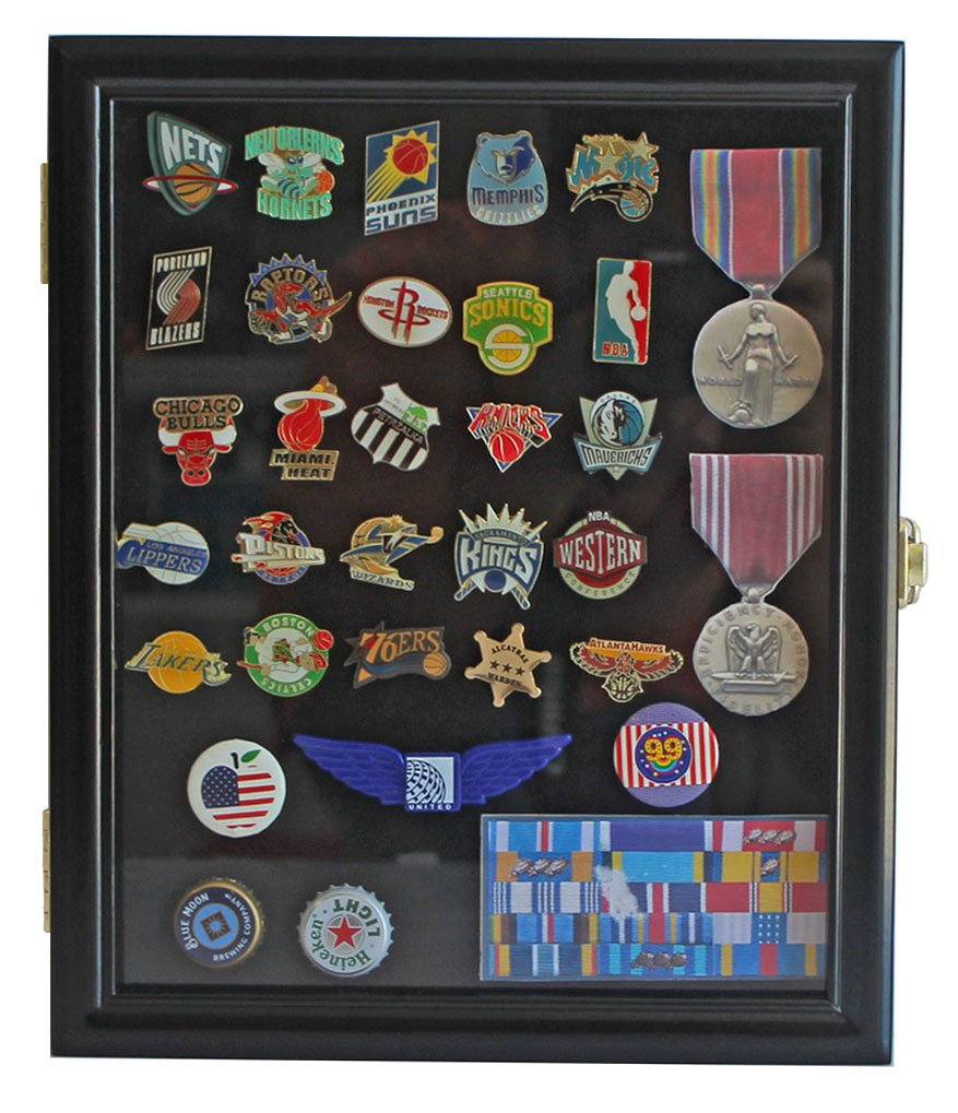 Amazon pinmedal display case shadow box glass door wall display case cabinet shadow box for military medals pins patches insignia ribbons planetlyrics Gallery
