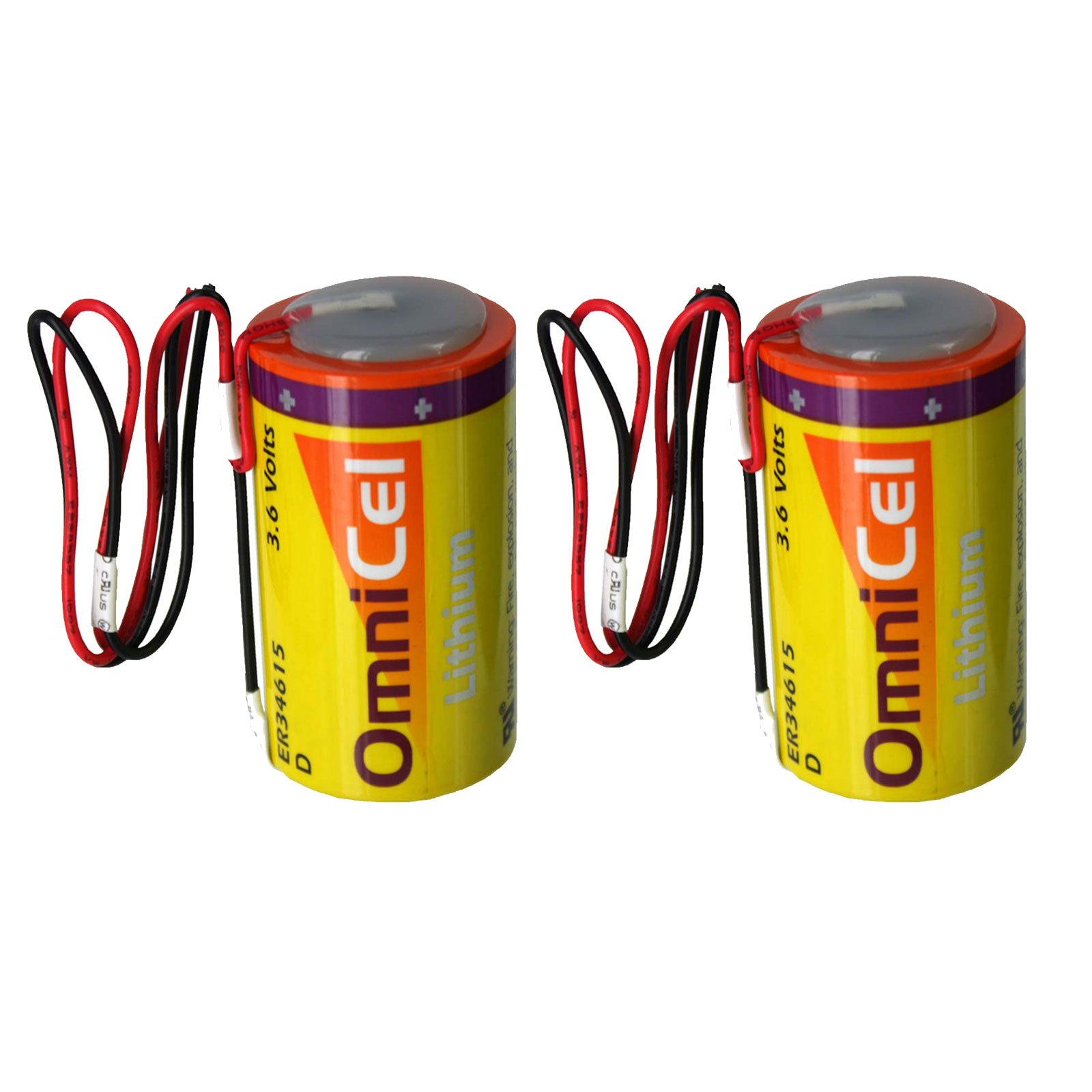 2x OmniCel ER34615 3.6V 19Ah Size D Lithium Battery with Wire Leads For Intrusion Sensors, Invisible Fencing,RFID Tracking, Asset Tracking, Theft Prevention, Locator Beacons, Fleet Monitoring by Exell Battery