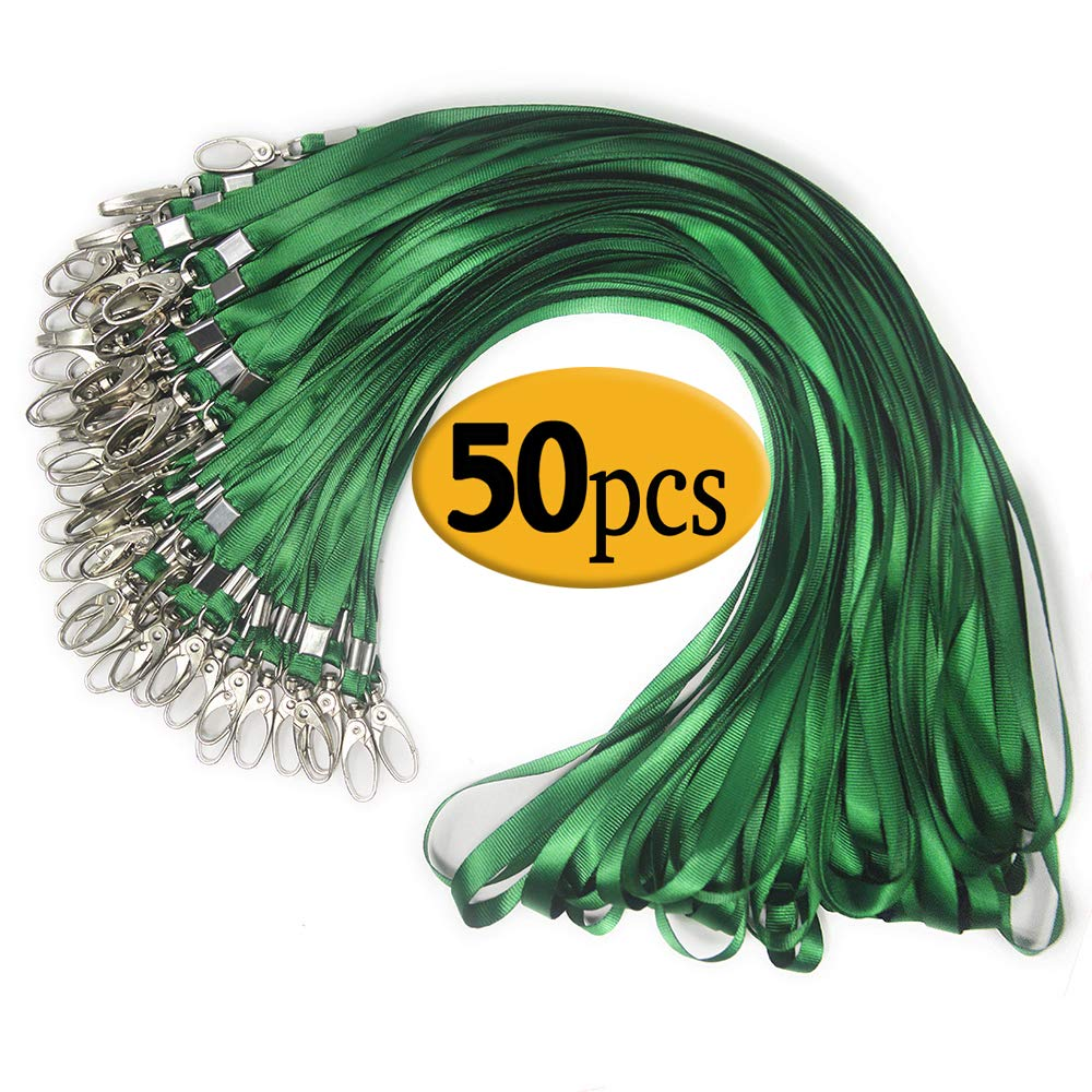 Green Lanyard Clip Swivel Hook 50 Pack 33-inch Lanyards with Clip Badge Lanyard Bulk Office Nylon Neck Flat Green Lanyards for id Badges Key Chains(Green)