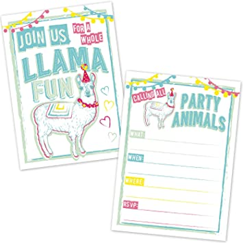 Llama Birthday Invitations For Kids 20 Count With Envelopes