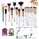 Ruesious 17PCS Makeup Brushes with Makeup Bag | Premium Synthetic Foundation Powder Concealers Blending Eye Shadows Face Make